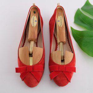 SJP Sarah Jessica Parker Audrey Ballet Flats Red Suede Bow Handmade Italy 35.5